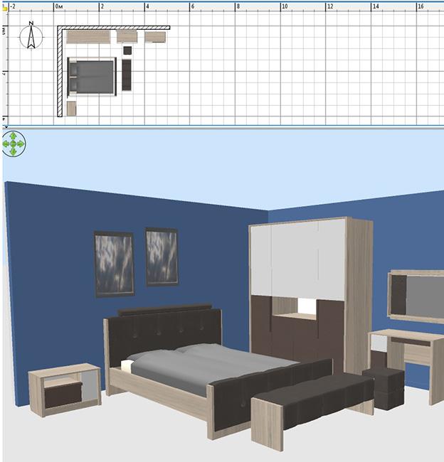3д проект спальни